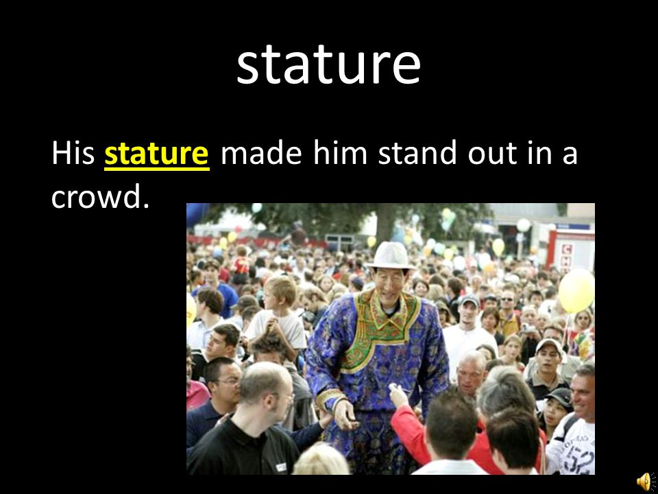 stature noun the height of any object, especially a person