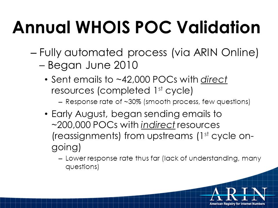 Annual WHOIS POC Validation – Fully automated process (via ARIN Online) – Began June 2010 Sent emails to ~42,000 POCs with direct resources (completed 1 st cycle) – Response rate of ~30% (smooth process, few questions) Early August, began sending emails to ~200,000 POCs with indirect resources (reassignments) from upstreams (1 st cycle on- going) – Lower response rate thus far (lack of understanding, many questions)