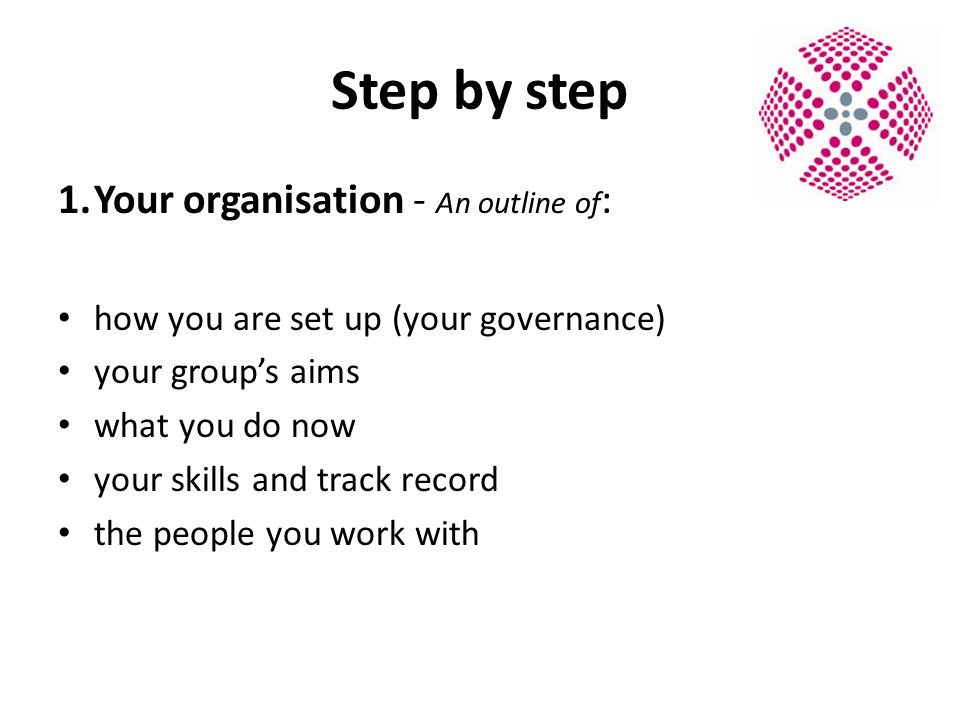 Step by step 1.Your organisation - An outline of : how you are set up (your governance) your group's aims what you do now your skills and track record the people you work with
