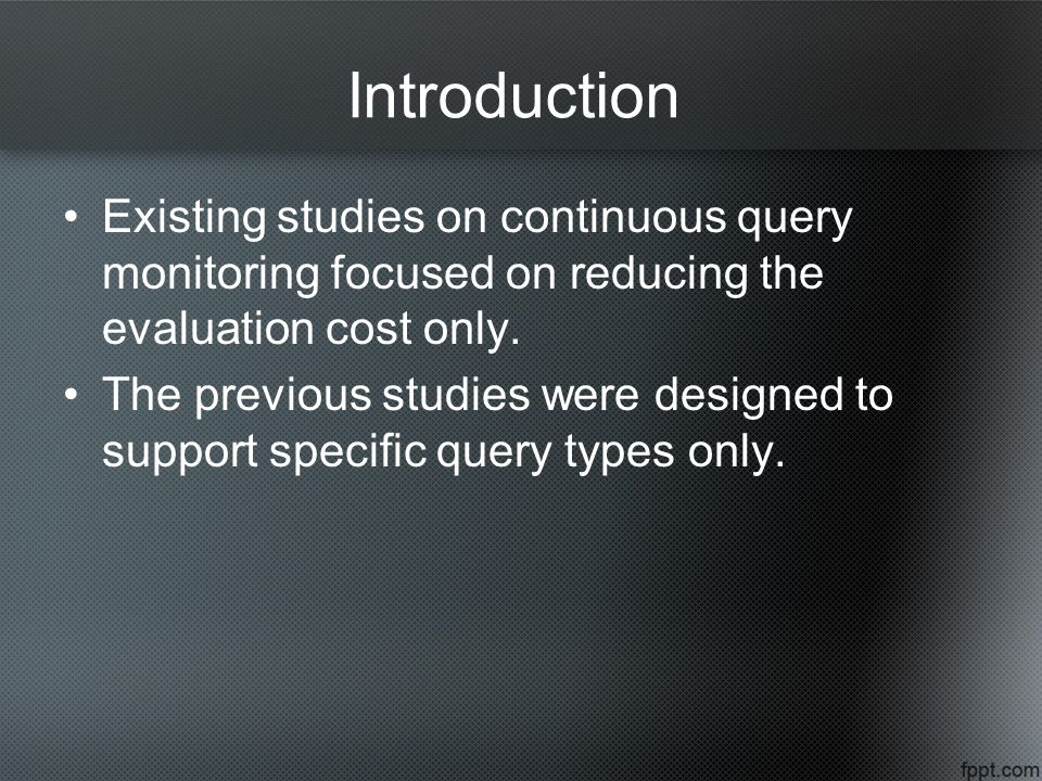 Existing studies on continuous query monitoring focused on reducing the evaluation cost only.