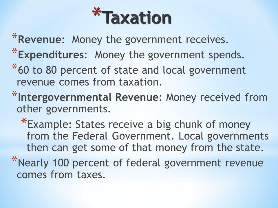 * Revenue: Money the government receives.* Expenditures: Money the government spends.