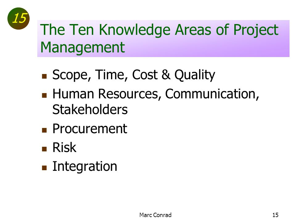 15 Marc Conrad15 The Ten Knowledge Areas of Project Management Scope, Time, Cost & Quality Human Resources, Communication, Stakeholders Procurement Risk Integration