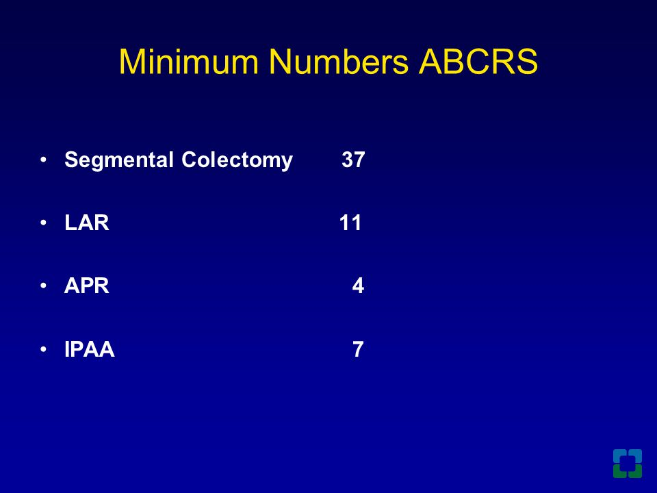 Segmental Colectomy 37 LAR 11 APR 4 IPAA 7 Minimum Numbers ABCRS
