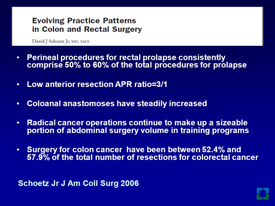 General Surgery Colorectal Surgery Colectomy 14.9 62.2 IPAA 1.5 10.7 APR 3.2 7.3 Gen Surgery versus Colon Rectal Surgery Residents Colon Procedures 1995-1996