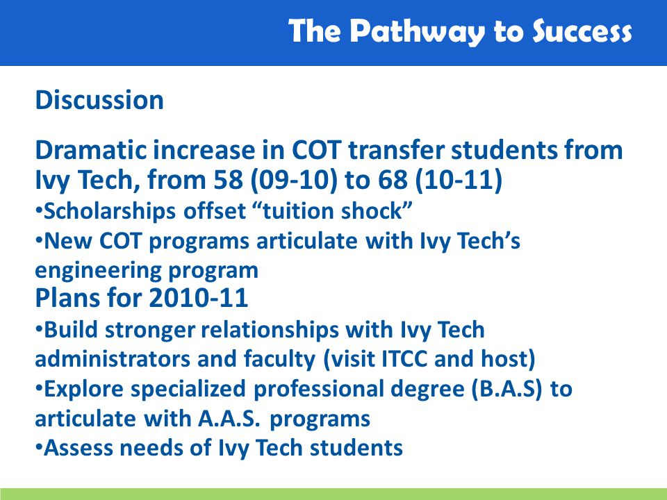 The Pathway to Success Discussion Dramatic increase in COT transfer students from Ivy Tech, from 58 (09-10) to 68 (10-11) Scholarships offset tuition shock New COT programs articulate with Ivy Tech's engineering program Plans for 2010-11 Build stronger relationships with Ivy Tech administrators and faculty (visit ITCC and host) Explore specialized professional degree (B.A.S) to articulate with A.A.S.