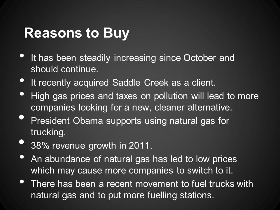 Reasons to Buy It has been steadily increasing since October and should continue.