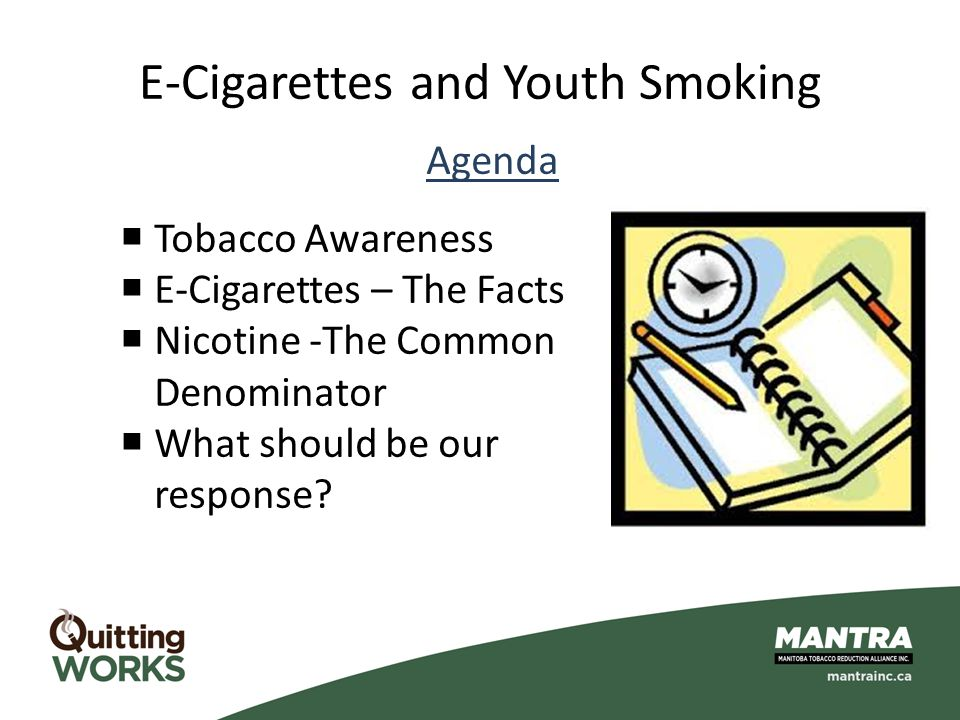 E-Cigarettes and Youth Smoking Agenda  Tobacco Awareness  E-Cigarettes – The Facts  Nicotine -The Common Denominator  What should be our response?