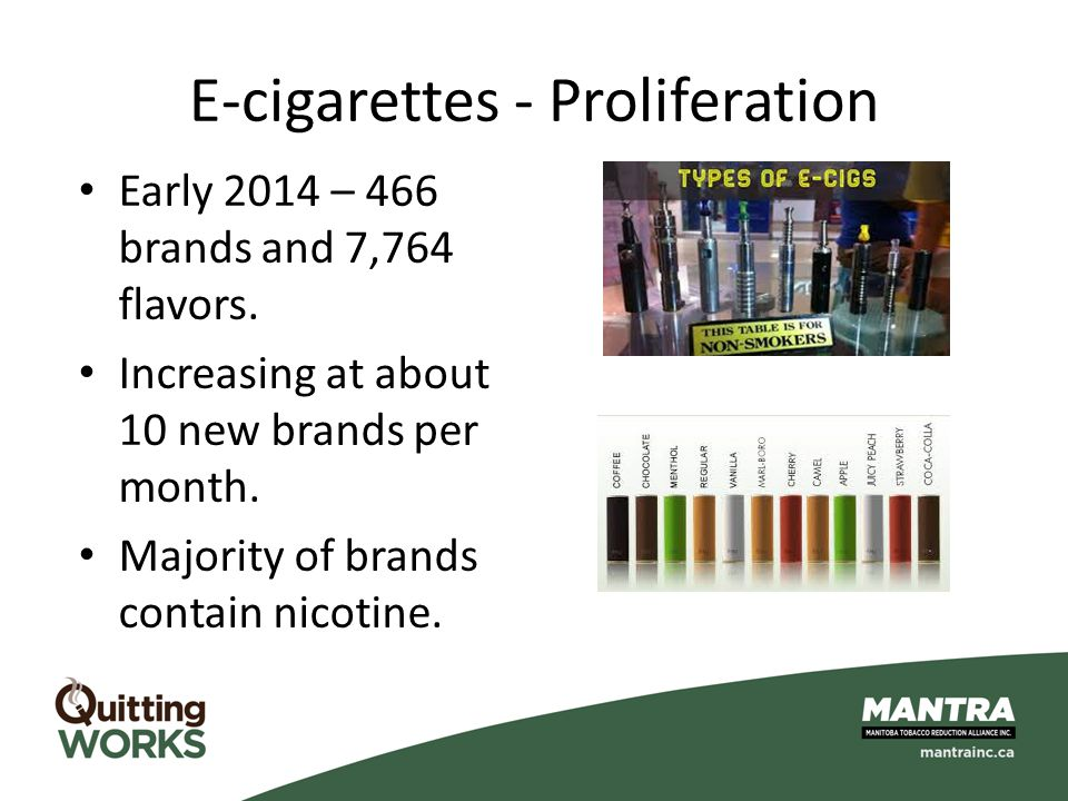 E-cigarettes - Proliferation Early 2014 – 466 brands and 7,764 flavors. Increasing at about 10 new brands per month. Majority of brands contain nicoti