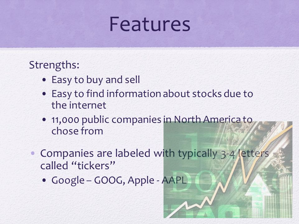 Features Strengths: Easy to buy and sell Easy to find information about stocks due to the internet 11,000 public companies in North America to chose from Companies are labeled with typically 3-4 letters called tickers Google – GOOG, Apple - AAPL