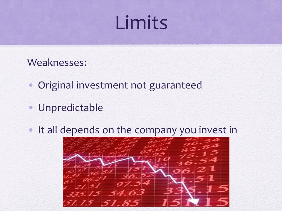 Limits Weaknesses: Original investment not guaranteed Unpredictable It all depends on the company you invest in