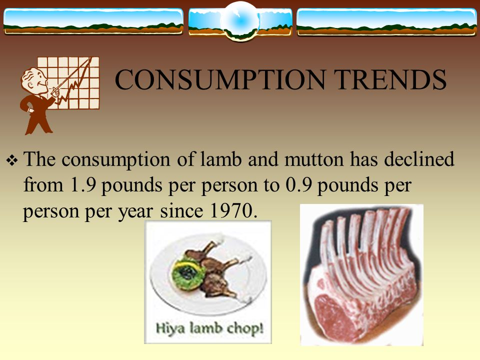 CONSUMPTION TRENDS  The consumption of lamb and mutton has declined from 1.9 pounds per person to 0.9 pounds per person per year since 1970.