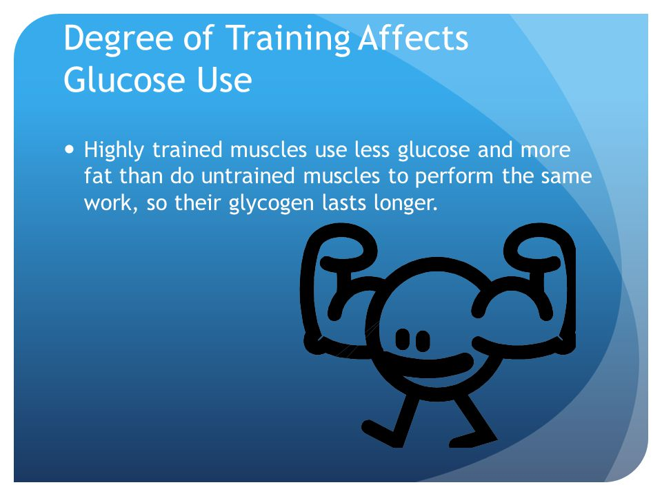 Degree of Training Affects Glucose Use Highly trained muscles use less glucose and more fat than do untrained muscles to perform the same work, so their glycogen lasts longer.
