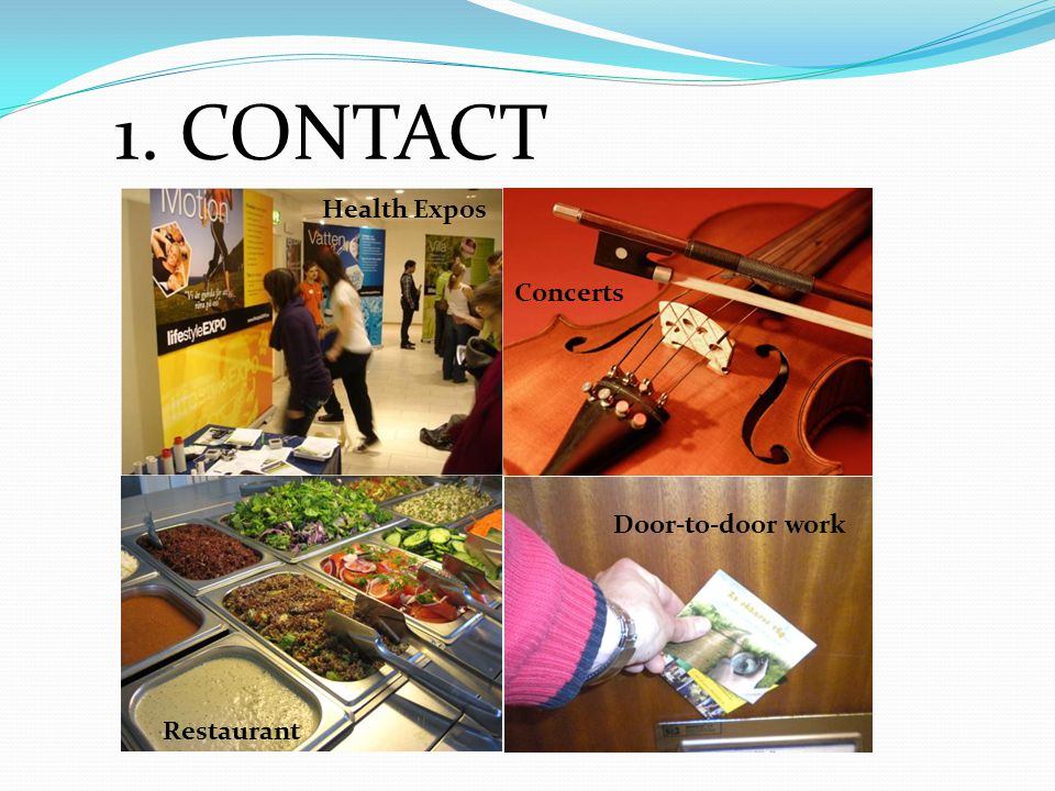1. CONTACT Health Expos Concerts Restaurant Door-to-door work