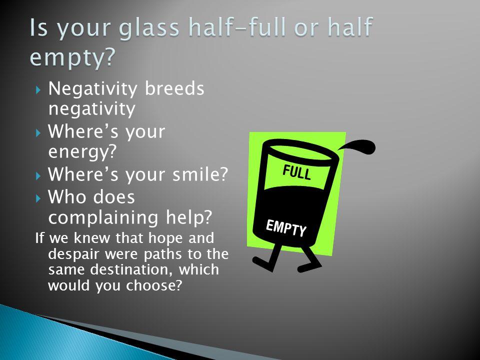  Negativity breeds negativity  Where's your energy.
