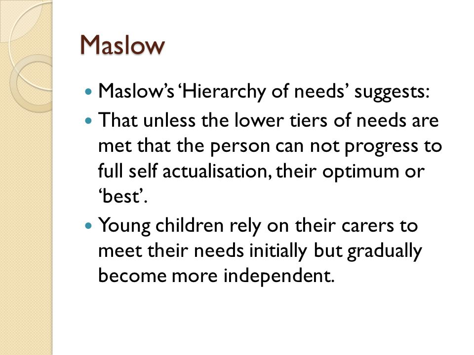 Maslow Maslow's 'Hierarchy of needs' suggests: That unless the lower tiers of needs are met that the person can not progress to full self actualisatio