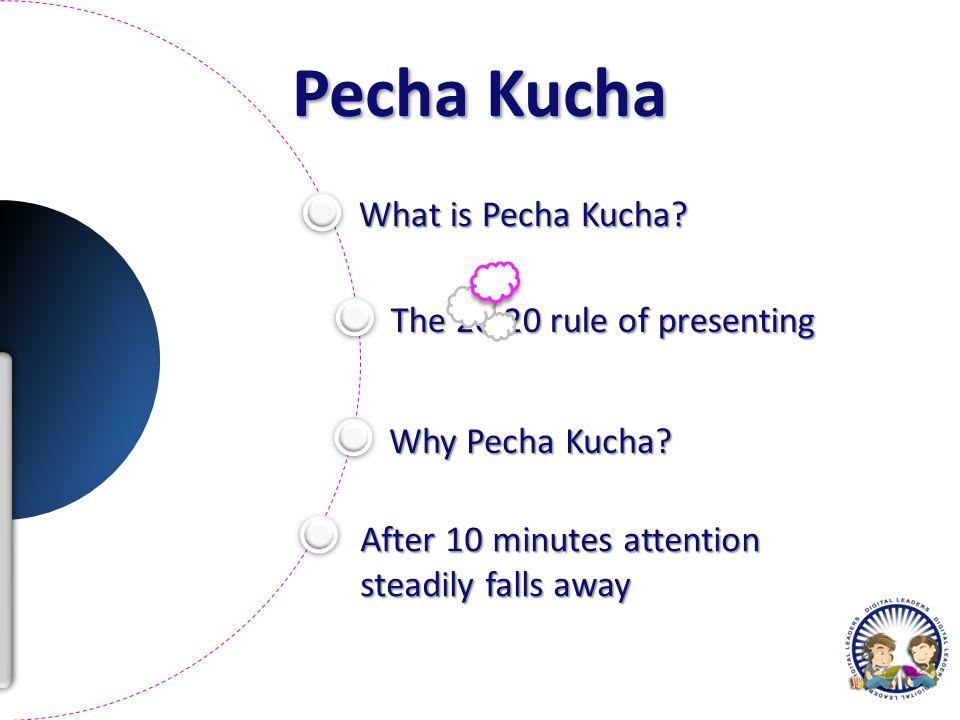 Pecha Kucha What is Pecha Kucha. The 20:20 rule of presenting Why Pecha Kucha.