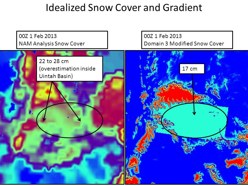 00Z 1 Feb 2013 Domain 3 Modified Snow Cover 00Z 1 Feb 2013 NAM Analysis Snow Cover 12 cm 17 cm 22 to 28 cm (overestimation inside Uintah Basin) Ideali
