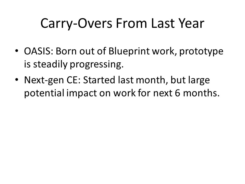 Carry-Overs From Last Year OASIS: Born out of Blueprint work, prototype is steadily progressing.