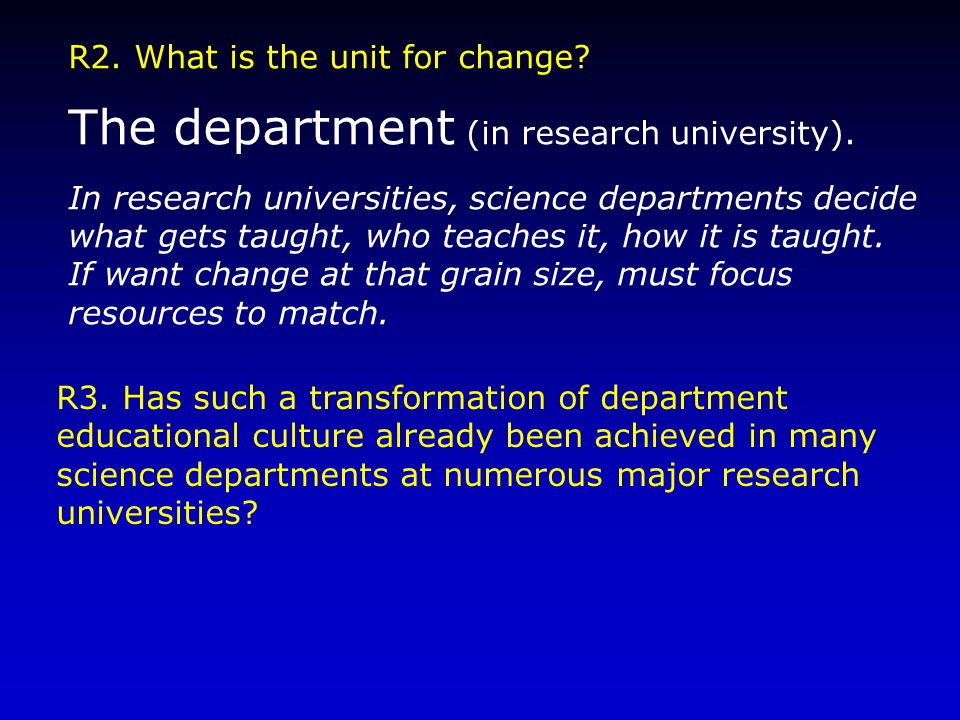 R2. What is the unit for change. The department (in research university).