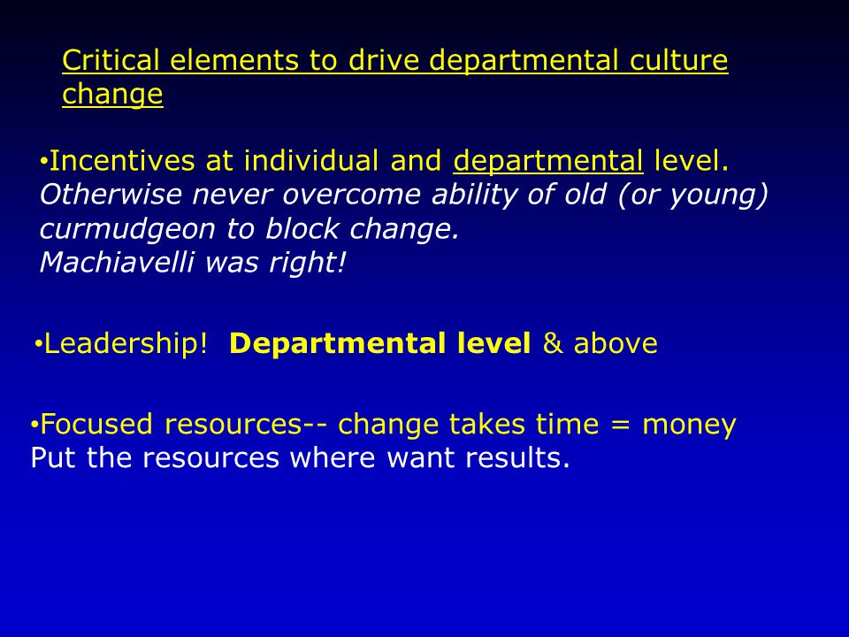 Critical elements to drive departmental culture change Incentives at individual and departmental level.