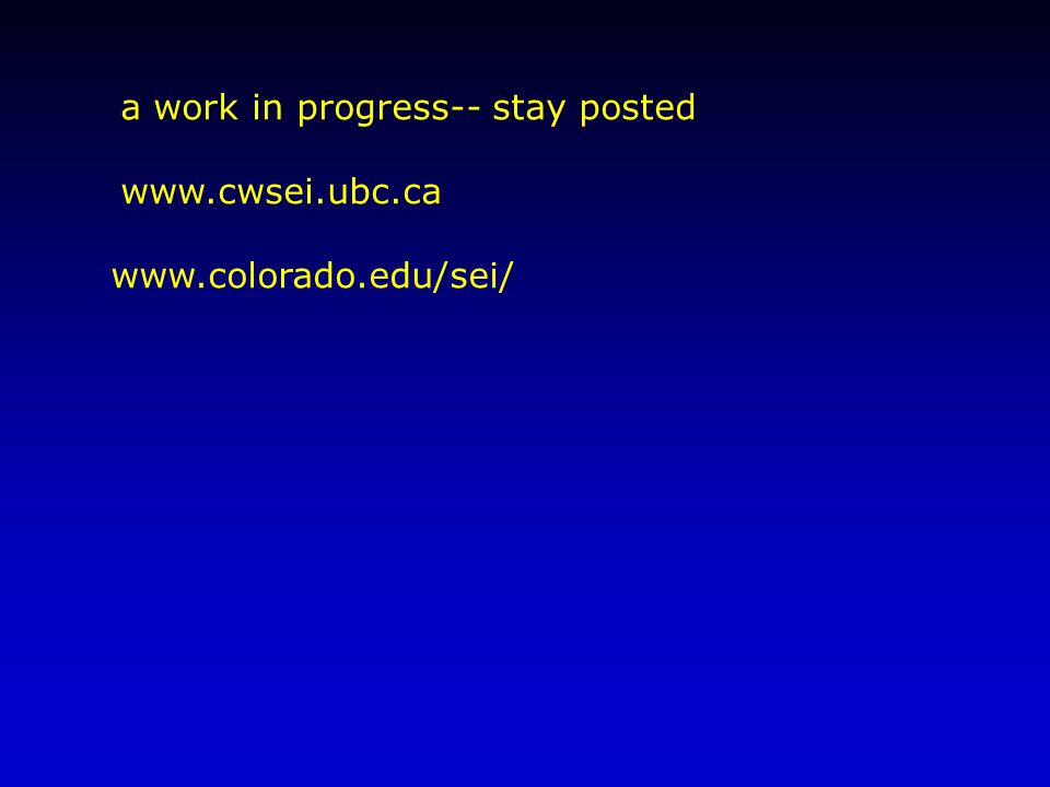 a work in progress-- stay posted www.cwsei.ubc.ca www.colorado.edu/sei/