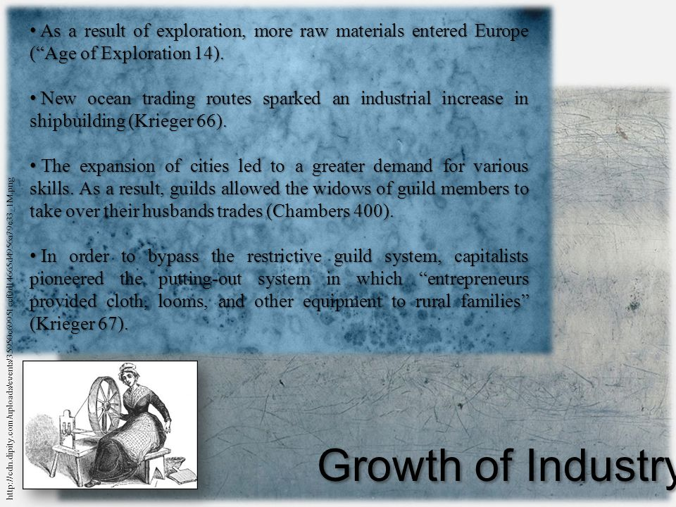 Growth of Industry As a result of exploration, more raw materials entered Europe ( Age of Exploration 14).