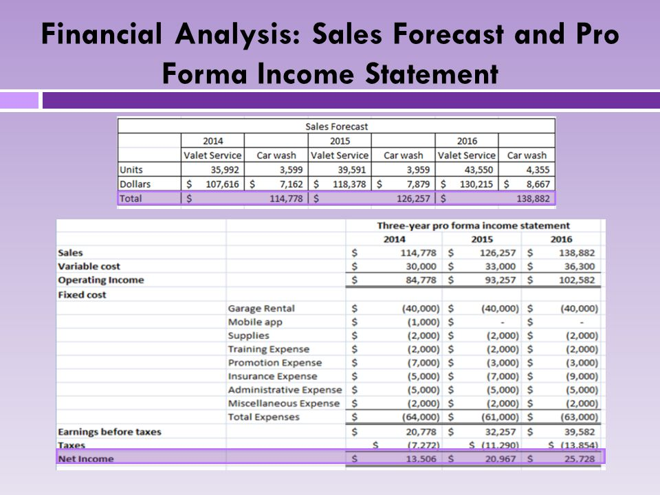 Financial Analysis: Sales Forecast and Pro Forma Income Statement