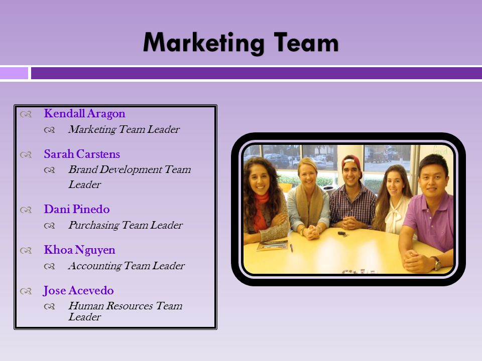 Marketing TeamMarketing Team  Kendall Aragon  Marketing Team Leader  Sarah Carstens  Brand Development Team Leader  Dani Pinedo  Purchasing Team Leader  Khoa Nguyen  Accounting Team Leader  Jose Acevedo  Human Resources Team Leader