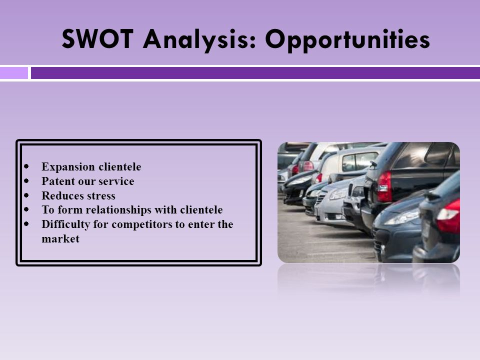 SWOT Analysis: Opportunities  Expansion clientele  Patent our service  Reduces stress  To form relationships with clientele  Difficulty for competitors to enter the market