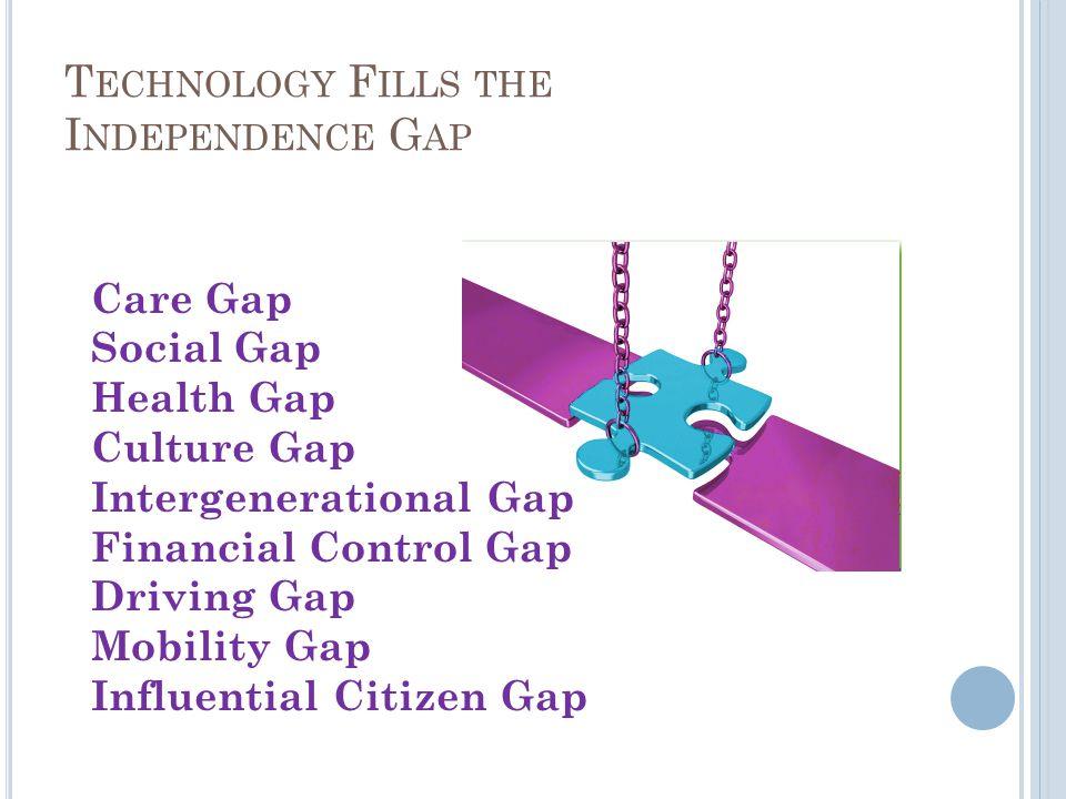 T ECHNOLOGY F ILLS THE I NDEPENDENCE G AP Care Gap Social Gap Health Gap Culture Gap Intergenerational Gap Financial Control Gap Driving Gap Mobility