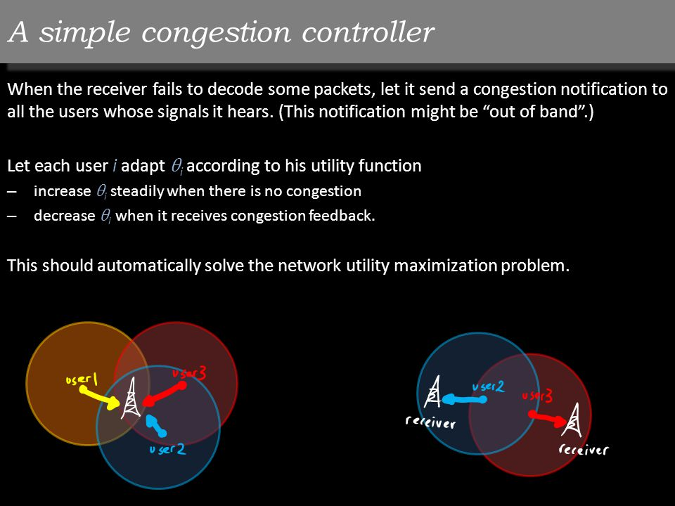A simple congestion controller When the receiver fails to decode some packets, let it send a congestion notification to all the users whose signals it hears.