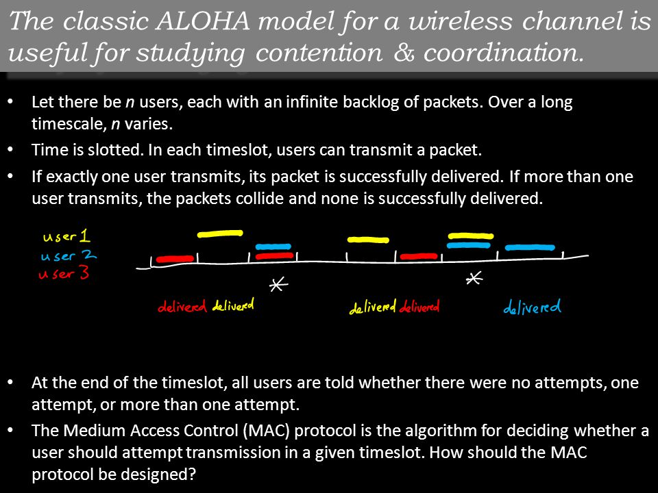 The classic ALOHA model for a wireless channel is useful for studying contention & coordination.