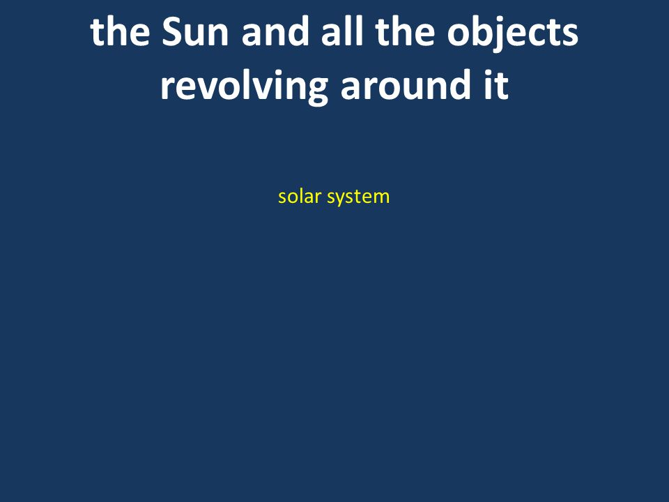 the Sun and all the objects revolving around it solar system