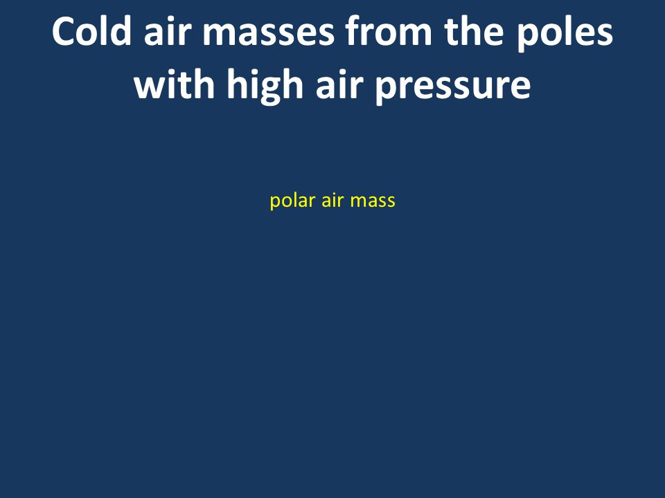 Cold air masses from the poles with high air pressure polar air mass