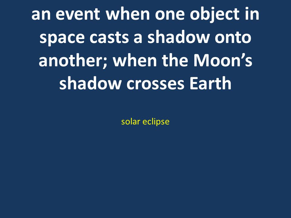 an event when one object in space casts a shadow onto another; when the Moon's shadow crosses Earth solar eclipse