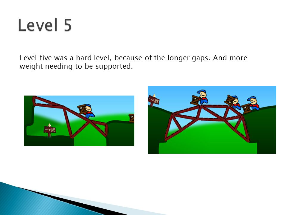 Level five was a hard level, because of the longer gaps. And more weight needing to be supported.