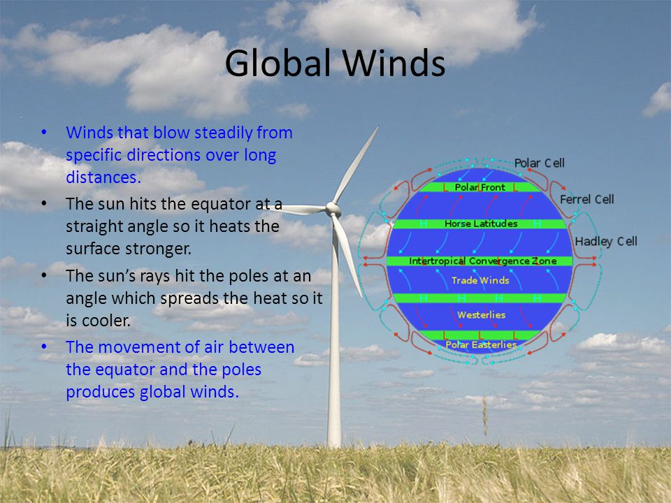 Global Winds Winds that blow steadily from specific directions over long distances.