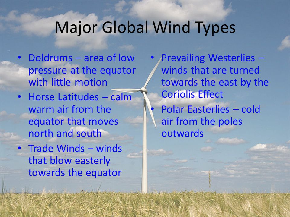 Major Global Wind Types Doldrums – area of low pressure at the equator with little motion Horse Latitudes – calm warm air from the equator that moves north and south Trade Winds – winds that blow easterly towards the equator Prevailing Westerlies – winds that are turned towards the east by the Coriolis Effect Polar Easterlies – cold air from the poles outwards