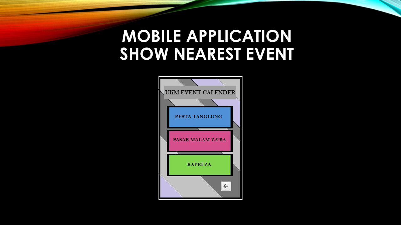 MOBILE APPLICATION SHOW NEAREST EVENT