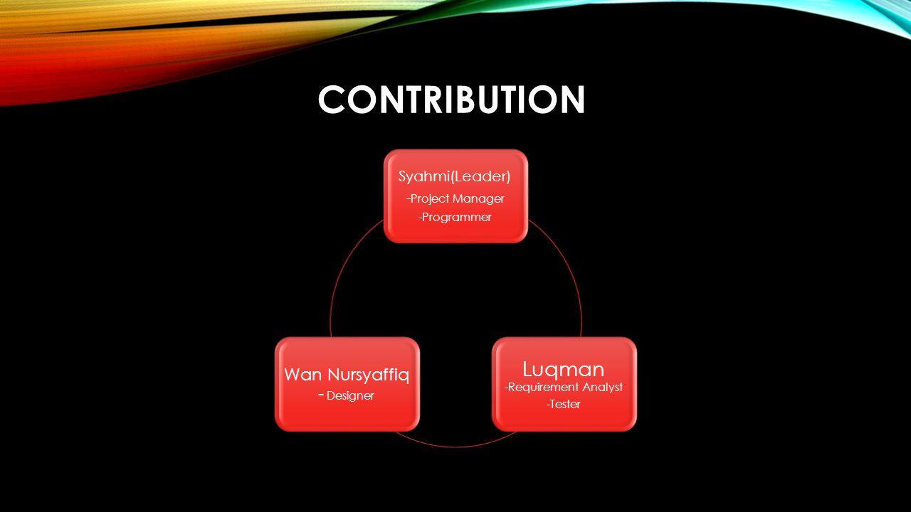 CONTRIBUTION Syahmi(Leader) - Project Manager -Programmer Luqman -Requirement Analyst -Tester Wan Nursyaffiq - Designer