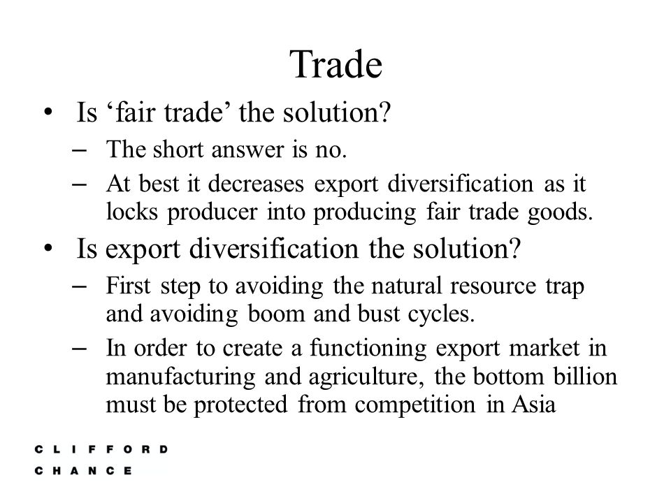 Trade Is 'fair trade' the solution. – The short answer is no.