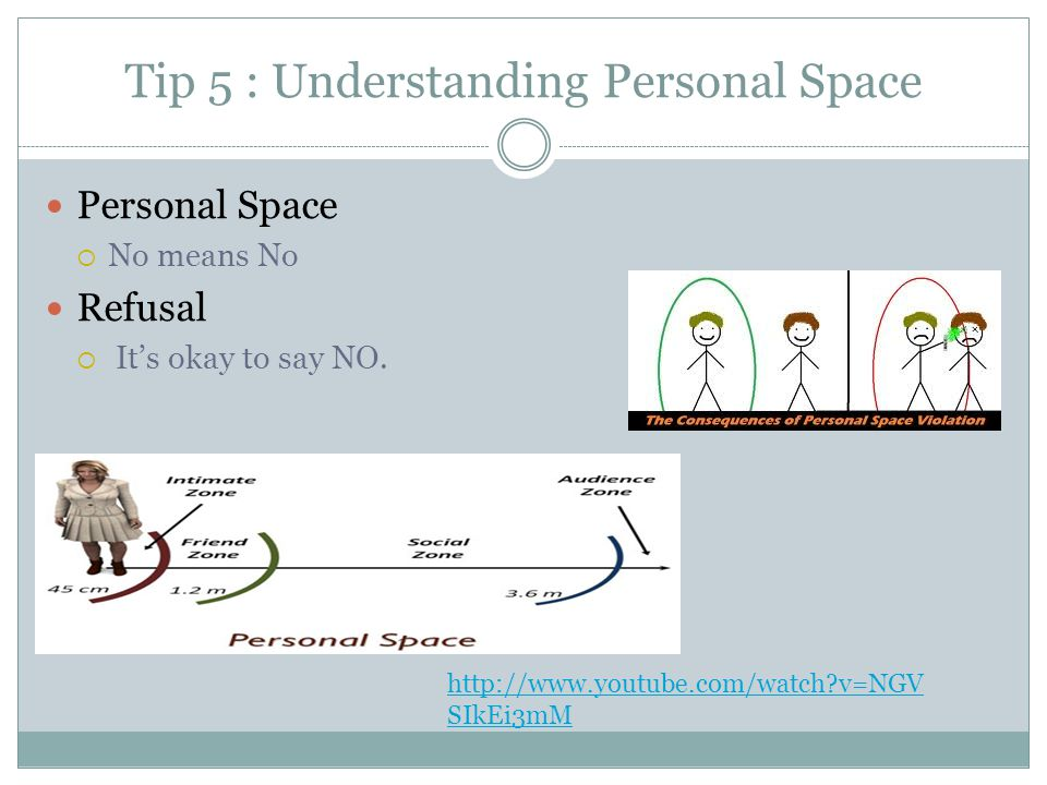 Tip 5 : Understanding Personal Space Personal Space  No means No Refusal  It's okay to say NO.