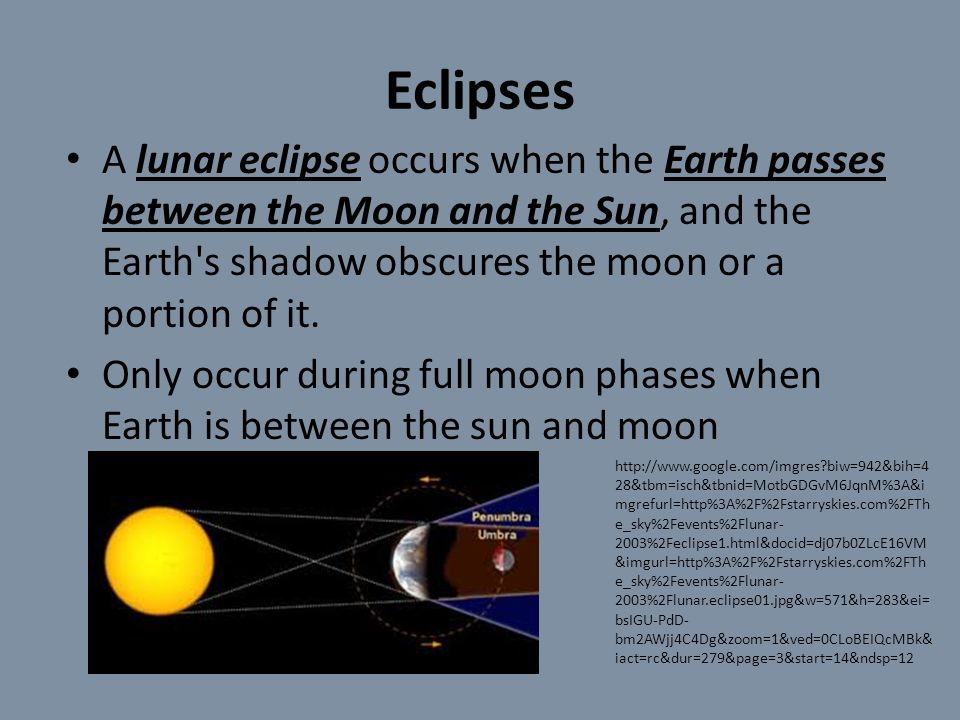 Eclipses A lunar eclipse occurs when the Earth passes between the Moon and the Sun, and the Earth s shadow obscures the moon or a portion of it.