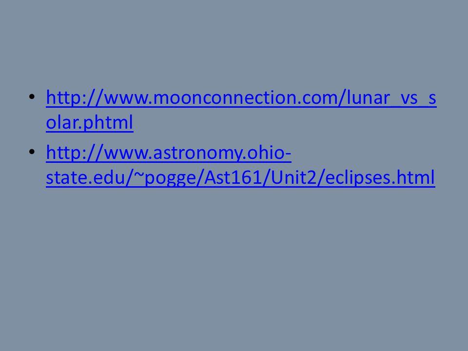http://www.moonconnection.com/lunar_vs_s olar.phtml http://www.moonconnection.com/lunar_vs_s olar.phtml http://www.astronomy.ohio- state.edu/~pogge/Ast161/Unit2/eclipses.html http://www.astronomy.ohio- state.edu/~pogge/Ast161/Unit2/eclipses.html