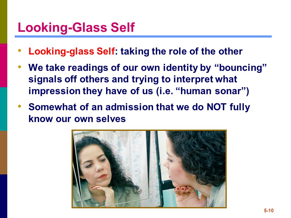 5-10 Looking-Glass Self Looking-glass Self: taking the role of the other We take readings of our own identity by bouncing signals off others and trying to interpret what impression they have of us (i.e.