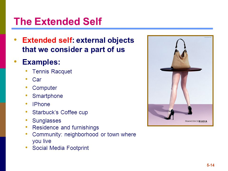 5-14 The Extended Self Extended self: external objects that we consider a part of us Examples: Tennis Racquet Car Computer Smartphone IPhone Starbuck's Coffee cup Sunglasses Residence and furnishings Community: neighborhood or town where you live Social Media Footprint