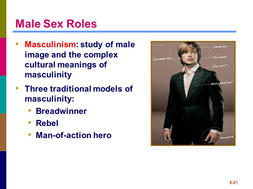 5-21 Male Sex Roles Masculinism: study of male image and the complex cultural meanings of masculinity Three traditional models of masculinity: Breadwinner Rebel Man-of-action hero