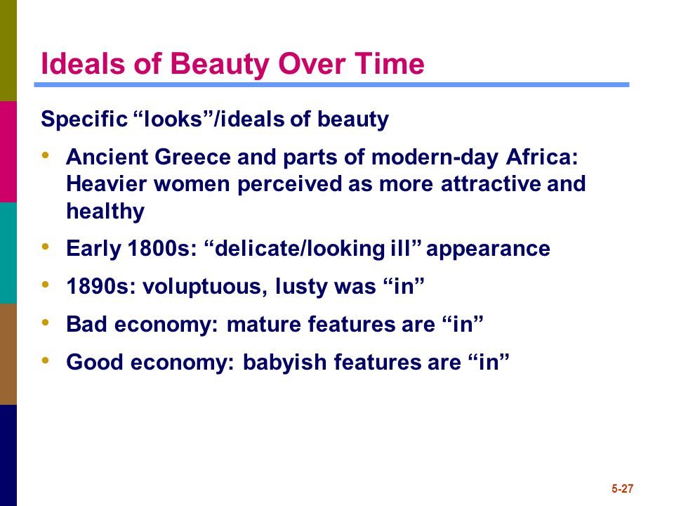 5-27 Ideals of Beauty Over Time Specific looks /ideals of beauty Ancient Greece and parts of modern-day Africa: Heavier women perceived as more attractive and healthy Early 1800s: delicate/looking ill appearance 1890s: voluptuous, lusty was in Bad economy: mature features are in Good economy: babyish features are in