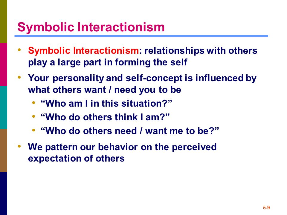 5-9 Symbolic Interactionism Symbolic Interactionism: relationships with others play a large part in forming the self Your personality and self-concept is influenced by what others want / need you to be Who am I in this situation? Who do others think I am? Who do others need / want me to be? We pattern our behavior on the perceived expectation of others