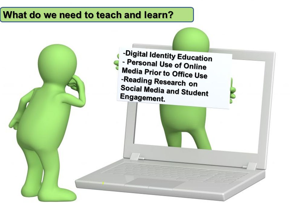 -Digital Identity Education - Personal Use of Online Media Prior to Office Use -Reading Research on Social Media and Student Engagement.